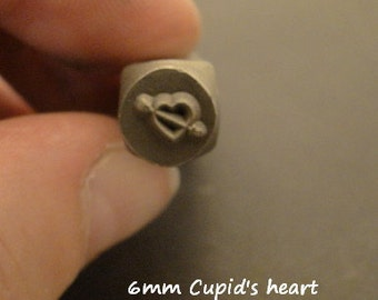 Design Stamp - CUPID'S HEART - 1/4 Inch (6mm) - includes How to Stamp Metal tutorial