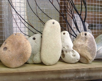 EARTHLY STONES..five hand drilled beach stones, natural beads, organic pebbles