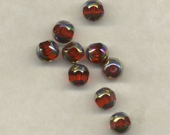 20 Vintage German Cathedral Beads Red Silver Glass
