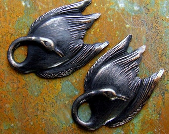 Swan Charms - Brass Swans - Distressed Black Patina - Swan Lake - Patina Queen - 2