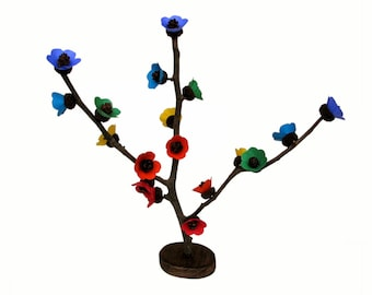 Dugino Drvo - Rainbow Acorn Pine Cone Bonsai - Original Art Paper Sculpture by Tanja Sova