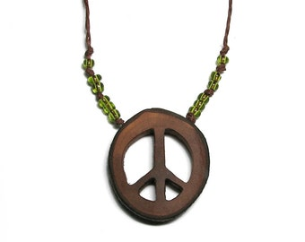 Peace Round Bradford Pear Wood Pendant Necklace on Hemp with Peridot Green Beads by Tanja Sova