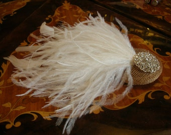 New handmade 1920s inspired white feather fascinator