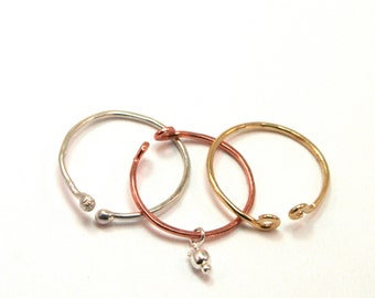 Knuckle Ring Set with Charm- Dainty Copper, Gold, and Sterling Above the Knuckle Rings - Midi