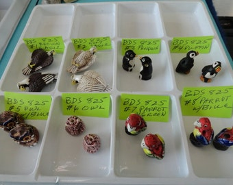 Choose your Beads, Eagles, Penquin, Puffin, Owls, Parrots,  Detailed Ceramic Bird Beads 2 pcs. BDS 825