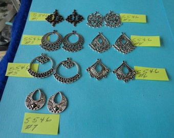 SALE Choose your Charms Tibetan Antiqued Copper and Silver Chandelier Earring Findings 6 pcs S 546