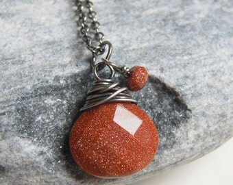 Glitter Goldstone Necklace, Oxidized Sterling Silver, Golden Brown Stone Pendant, Wire Wrapped Jewelry