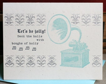 Let's Be Jolly letterpress holiday card set of 6