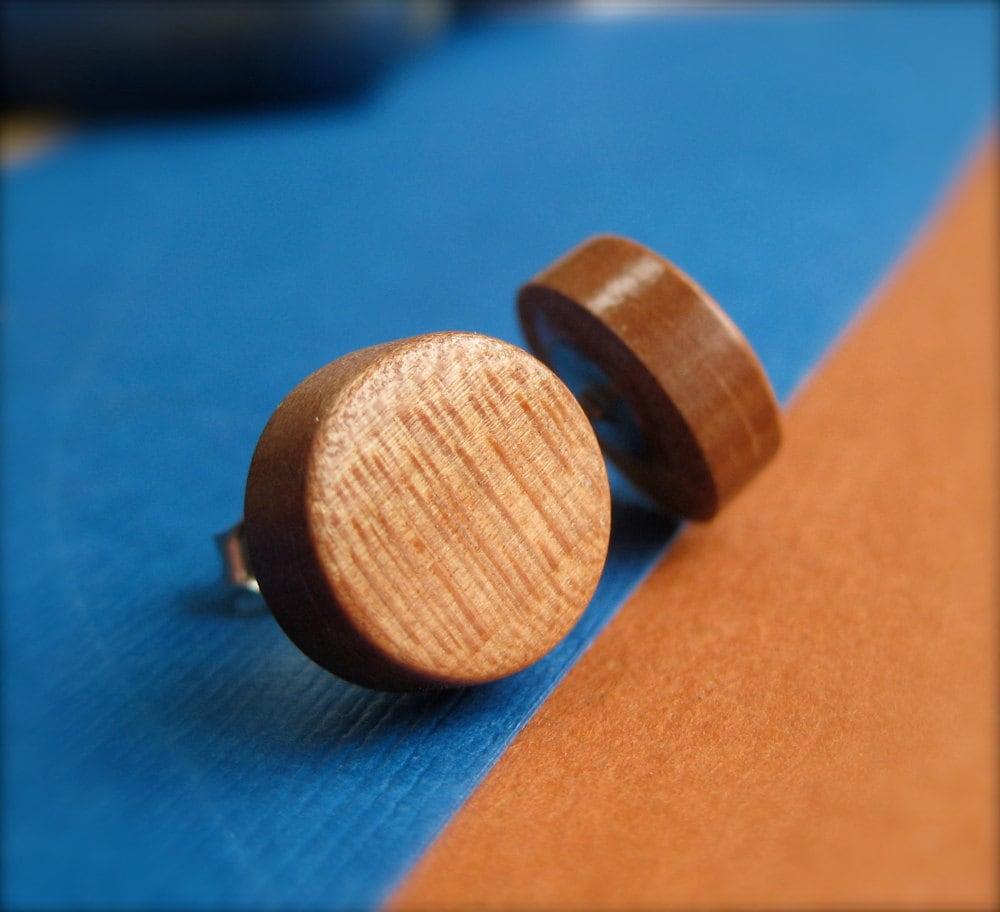 European Pearwood Earrings Wooden Earrings Flat Stud