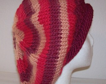 Rolled Brim Wool/Alpaca Tam - Slouchy Knit Beret - Knitted Dreadlock Tam - Striped Tan/Burgundy/Red