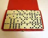 28 Ivory Dominoes in Travel Case - Vintage Double Six Set