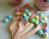 50 Mini wooden ice cream spoons