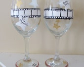 Hollywood Themed Wine Glasses White with Stars Hand Painted