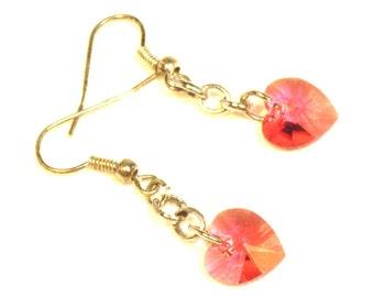 Heart Earrings, Red Heart Swarovski Crystal Earrings