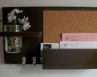 NEW DESIGN Wood Expresso Dark Brown Wall Shelf Cork Bulletin Board Message Center With Letter Holder