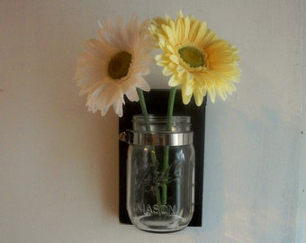 Expresso BrownFlower Wood Wall Mason Jar Shelf