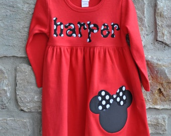 Make it a Mouse Monogram Personalized Dress - 12m-8 years - You choose color and sleeve length - Julianne Originals