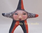 Halloween Star Dark Orange and Black Doll or Ornament
