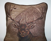 Cabin Pillow Lodge Elk Tapestry Pillow Gift for Dad
