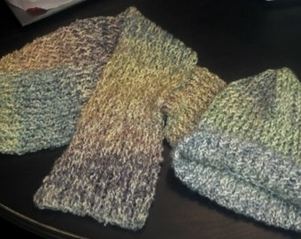 Hand Made Loom Knit Hat And Scarf Set - Ocean - Greens Blues Purples Pinks Peaches Lavender