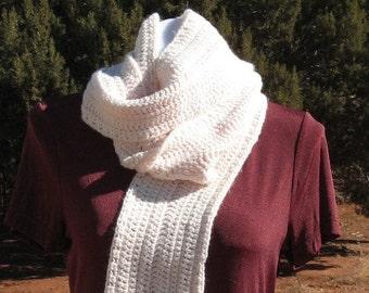 Extra Long Hand Crocheted Scarf - Wool Blend - Creamy Ivory - Ladies - Men - Unisex