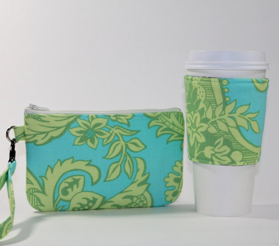 Coffee Break Gift Set - Wristlet and Reversible Coffee Sleeve - Lime and Aqua