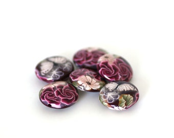 Roses on Crimson Beads, Polymer Clay Lentil Red Beads 6 Pieces