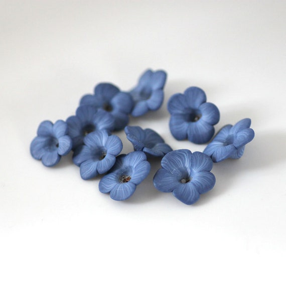Dark Periwinkle Beads, Polymer Clay Beads, Blue Purple Flower Beads 10 Pieces