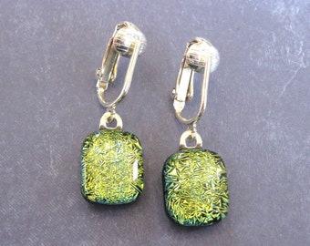 Yellow Dichroic Glass Clip On Earrings, Dangle Glass Earrings - Miami - 1495 -3