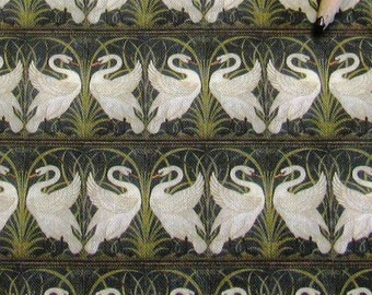 Dollhouse Miniature Arts Crafts UPHOLSTERY FABRIC Walter Crane Swans 1/12th