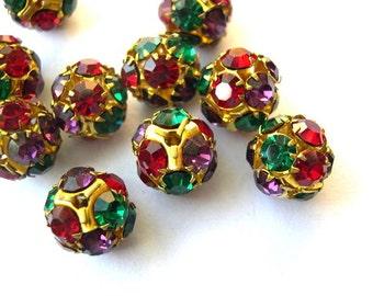 Vintage Swarovski crystal ball bead 13mm red violet green crystals in brass setting- RARE