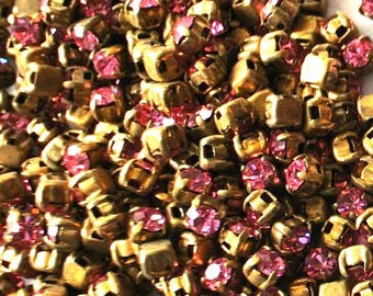 20 Antique vintage Swarovski cabochon pink crystal mounted in brass setting cut 1100