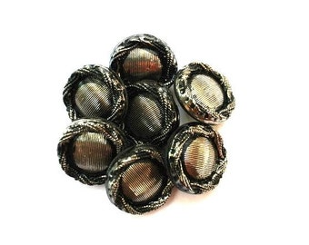 6 Vintage glass buttons black with silver color 13mm SHANK buttons