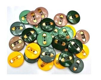 25 Vintage plastic buttons, 5 colors with gold color trim, 28mm