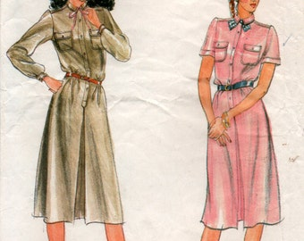 80s Shirt Dress pleated skirt Sewing Pattern ladies bust 34inch 87cm Butterick 3661