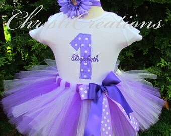 First Birthday Outfit - Baby Girl Tutu - Purple Tutu - Cake Smash Outfit - Personalized For You