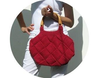 Knitted Bag, Red, Tote Bag, Beach Bag, Hobo Bag, Womens Handbags, Summer Fashion, Cotton Purse, Cherry Red, Knit Bag, Cute Purse, Handmade