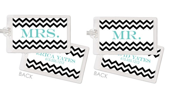 Honeymoon Newlywed Luggage Bag Tags - Chevron