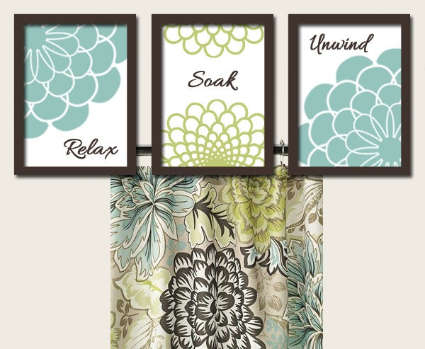 Teal Green Brown Bathroom Artwork Set of 3 Trio by trmDesign