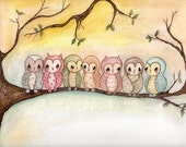 Owl Print Bird Tree Colorful Children Wall Art---Owls - thepoppytree