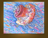 RESERVED FOR STEPHEN - Jellyfish Explosion -- 22 x 28 inch Original Oil Painting by Elizabeth Graf, Art Painting