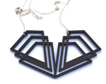 Black Art Deco Necklace Acrylic Perspex Geometric on Sterling Silver Chain
