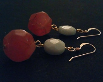 Carnelian and Amazonite Earrings