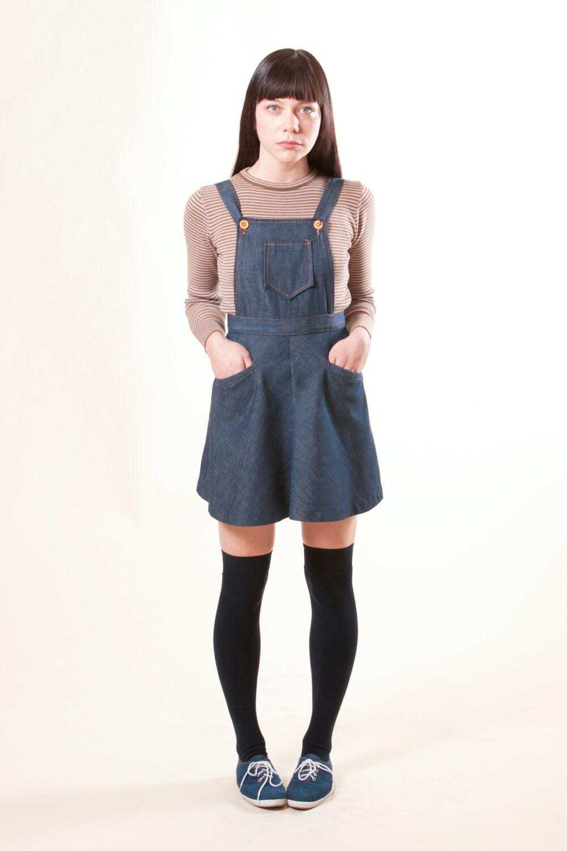 reserved vintage 60s denim overall jumper mini dress xs