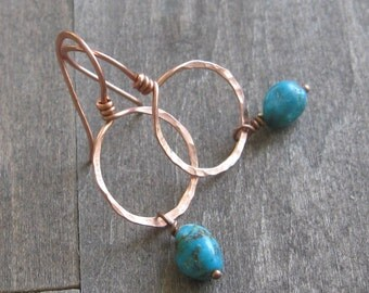 Turquoise and copper earrings - minimalist earrings - artisan hand forged copper hoop earrings south wind design