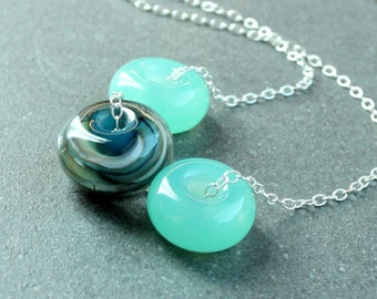 Green Lampwork Necklace Sterling Silver  Glass Jewelry  Everyday   Customized Jewellery Made For Women