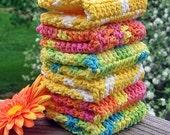 Crochet Dishcloths, Washcloth, Handmade Bath Washcloths, Eco Friendly, Set of 6, Crochet Cotton Yellow, Pink, Blue