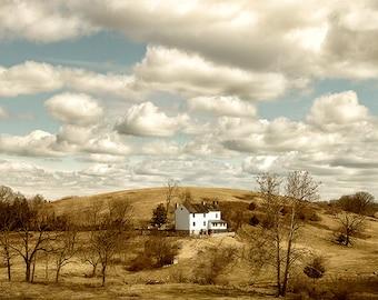 Rural Photography, Farmhouse Decor, Rustic Wall Art, Farmland, Mountains, Farm House, White Clouds, Country Home Decor  - House on the Hill
