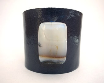 Midnight Blue Leather Cuff Bracelet with White Carnelian Bead, Handmade Leather Jewelry, Women's Leather Accessories