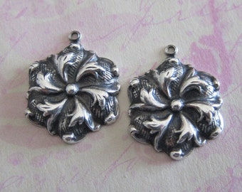 NEW 2 Silver Drop Charms 3108